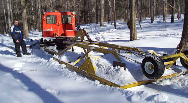 Snowmobile trail groomer using recreational trails grant