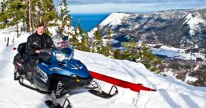 Snowmobile mountain switchbacks to the top of Mont-Saint-Pierre.