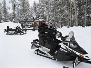 Snowmobiles at Yellowstone National Park
