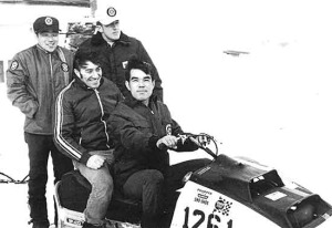 Ronnie Ouimet and Mike Trapp on Yamaha snowmobiles