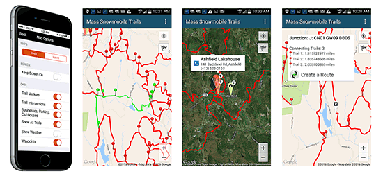 SledMass Trail Map for iPhone and Android