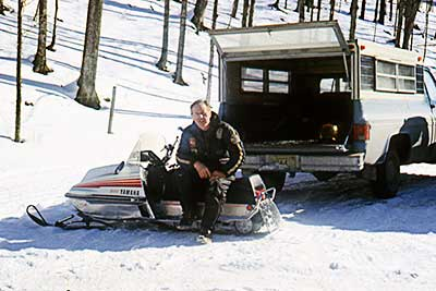 Stan Kopala on his Yamaha snowmobile at Greylock