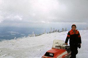 Stan Kopala snowmobiling to the peak of Mt Greylock