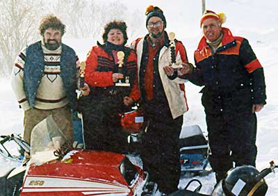 Stan Kopala and snowmobile friends at Greylock Mountain