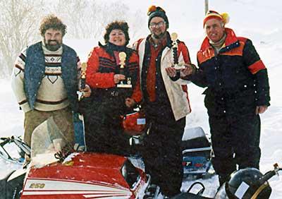 Stan Kopala and snowmobile friends at Greylock Mountain